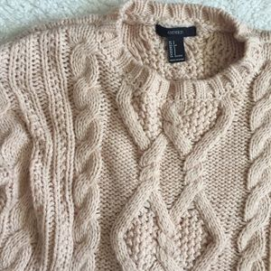 Baby pink chunky cable knit sweater